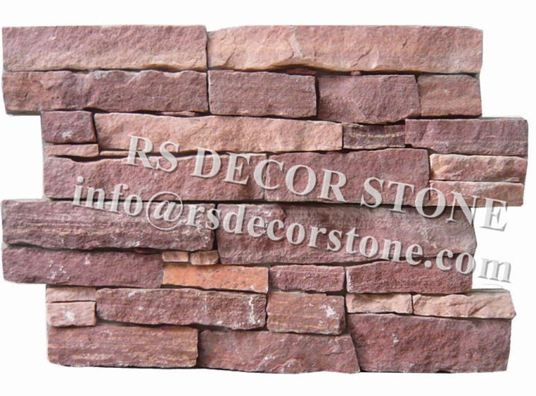 Red Sandstone Stacked Stone(With Cement And Mesh)