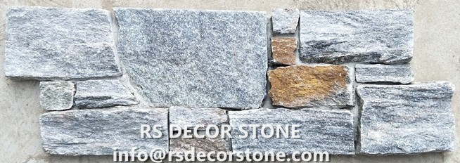 Sage Green Quartzite Stacked Stone(With Big Piece,Cement And Mesh Backing)