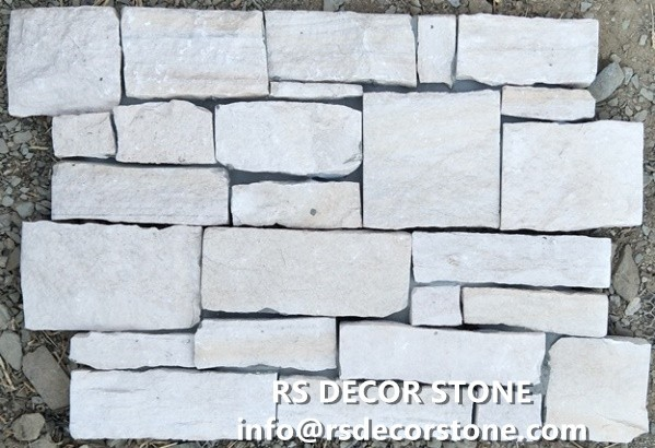 White Sandstone Stacked Stone(With Cement And Mesh)Panel