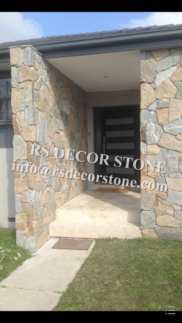 Yellow With Grey gneiss Mosaic Thin Stone Veneer