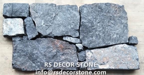Universe Black Limestone Rock Panel(Metal Mesh Backing)