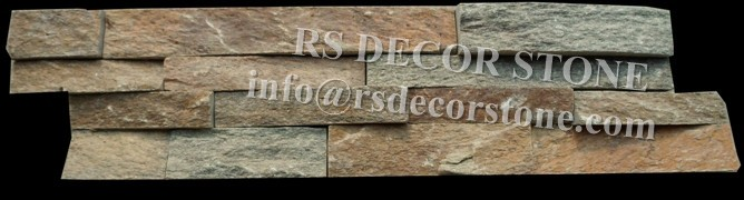 Antiqued Yellow Quartzite Stacked Stone Panel
