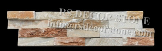 Golden Quartzite Stacked Stone With Flat Panel
