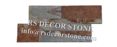 Rusty Slate S Shape Stone Wall Covering