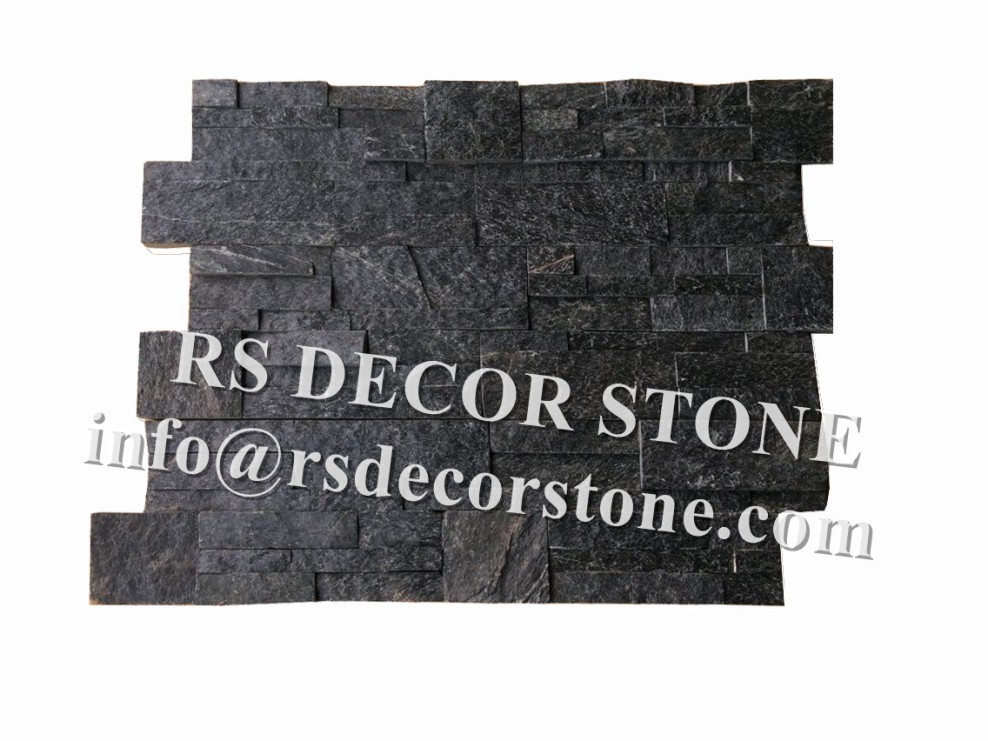 Black Quartzite S Shape Stone Wall Covering
