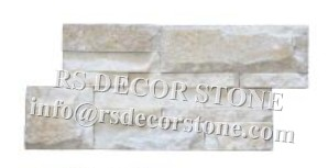 Cream Quartzite S Shape Stone Wall Covering