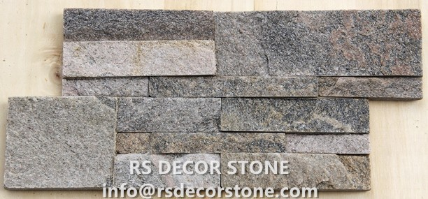 Grey With Pink Quartzite S Shape Stone Wall Panel