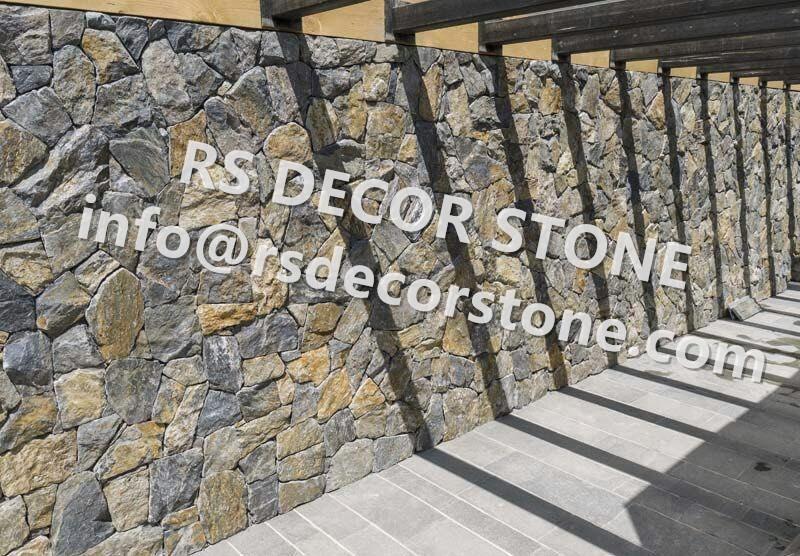 Deep Blue And Rusty Limestone Mosaic Thin Stone Veneer