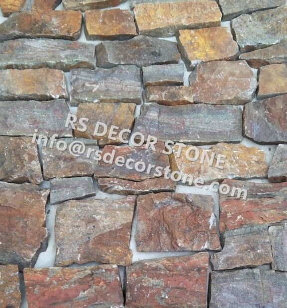 Red Rusty Conglomerate Rock Ledgestone